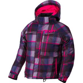 FXR Racing Youth Fuchsia/Wineberry Plaid Fresh Jacket - 180401-9086-14