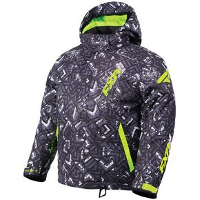 FXR Racing Youth Char White Track/Lime Squadron Jacket - 180400-9010-10