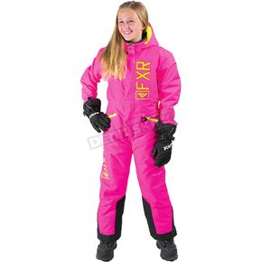FXR Racing Youth Electric Pink/Hi-Vis Squardron Monosuit - 173000-9465-10