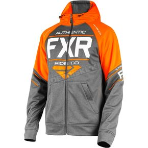 FXR Racing Charcoal Heather/Orange Ride Tech Hoody - 181110-0630-13