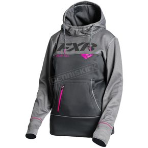 FXR Racing Women's Black/Charcoal Heather Pursuit Tech Pullover Hoody - 181204-1006-10