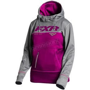 FXR Racing Women's Wineberry Heather/Gray Heather Pursuit Tech Pullover Hoody - 181204-8707-16