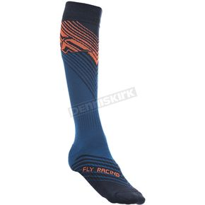Fly Racing Youth Blue/Orange Thin MX Socks - 350-0431Y