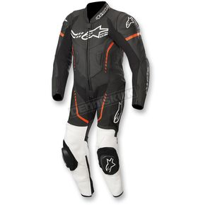 Black/White/Flo Red Youth GP Plus Cup 1-Piece Leather Suit