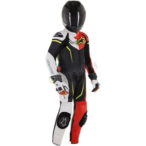 Black/White/Flo Red/Flo Yellow Youth GP Plus Cup 1 Piece Leather Suit