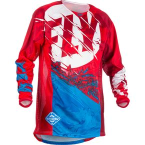 Fly Racing Youth Red/Blue Kinetic Outlaw Jersey - 371-522YL