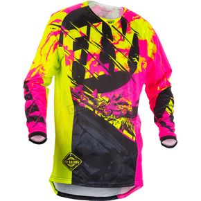 Fly Racing Youth Black/Neon Pink/Hi-Vis Kinetic Outlaw Jersey - 371-529YS