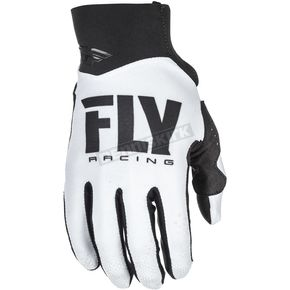 Fly Racing White/Black Pro Lite Gloves - 371-81410
