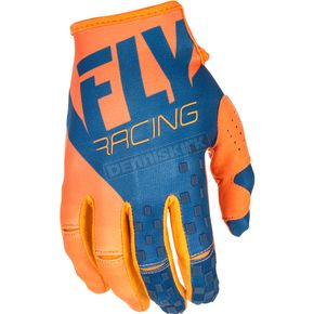 Fly Racing Youth Orange/Navy Kinetic Gloves - 371-41804