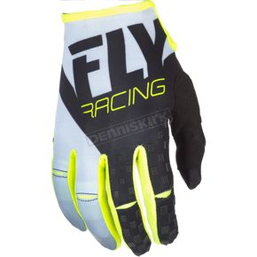 Fly Racing White/Black/Hi-Vis Kinetic Gloves - 371-41608