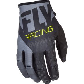 Fly Racing Youth Black/Gray/Hi-Vis Kinetic Gloves - 371-41004