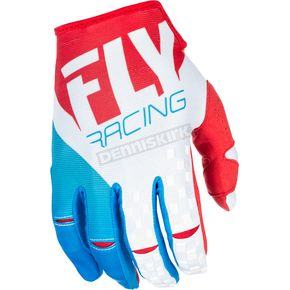 Fly Racing Red/White/Blue Kinetic Gloves - 371-41308