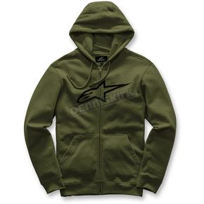 Alpinestars Military Green  Ageless Zip-Up Fleece Hoody - 101753007690M