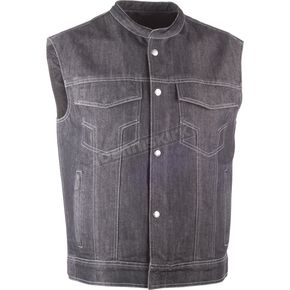 Highway 21 Black Club Collar Iron Sights Denim Vest - 489-1078S