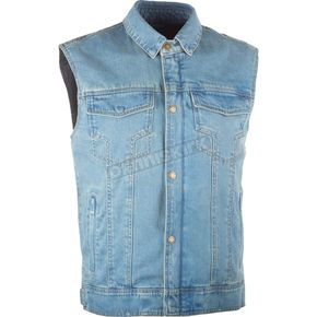 Highway 21 Blue Traditional Collar Iron Sights Denim Vest - 489-10764X