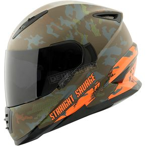 Speed and Strength Orange/Green Straight Savage SS1600 Helmet - 884535