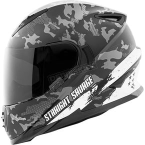 Speed and Strength White/Black Straight Savage SS1600 Helmet - 884529