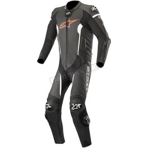 Black/Red/White Missile 1-Piece Leather Suit