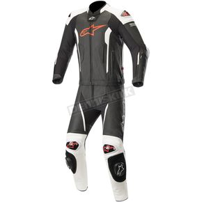 Black/Red/Fluorescent White Missile Two-Piece Leather Suit