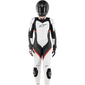 Women's Black/White/Red Stella Kira 1-Piece Leather Suit