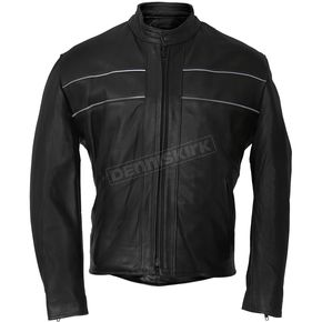 USA Made Premium Leather Racer Jacket w/Reflective Piping