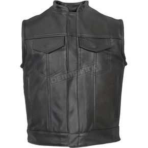 USA Made Premium Covered Zipper Leather Vest