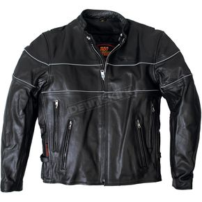 Leather Jacket w/Reflective Piping - JKM100446