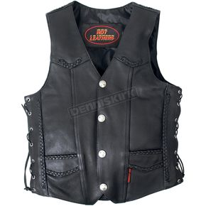 Buffalo Nickel Leather Vest w/Braided Detail