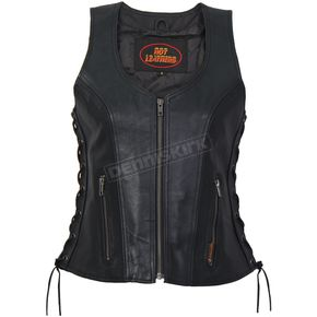 Women's Side Lace Zip Up Leather Vest