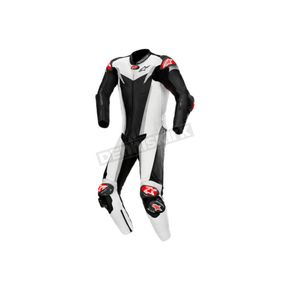 Black/Silver/White GP Tech One-Piece Leather Suits V3