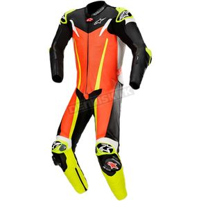 Red/Black/Yellow GP Tech One-Piece Leather Suits V3