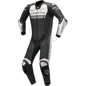 Black/White/Red Missile Ignition One-Piece Leather Suit