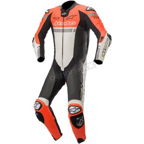 Red/White/Black Missile Ignition One-Piece Leather Suit