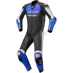 Black/Blue/White Missile Ignition One-Piece Leather Suit