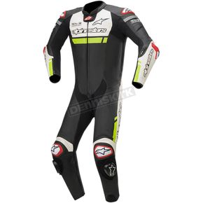 Black/White/Yellow Missile Ignition One-Piece Leather Suit