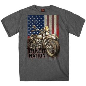 Heather Charcoal Biker Nation T-Shirt - GMS1462L