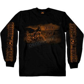 Black Biker For Life Long Sleeve T-Shirt