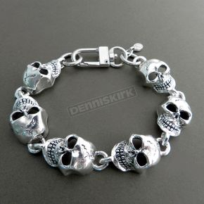 Antique Silver Monster XL Skull Chain Bracelet - BC28XL