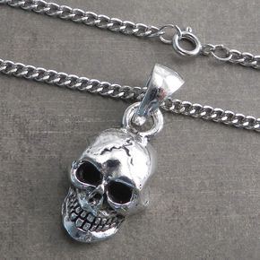 Antique Silver Pewter XL Skull Pendant on Thin Curb Chain Necklace - CH205-SKLX