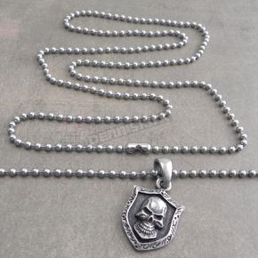 Silver Skull Shield Pendant Stainless Steel Ball Chain Necklace - NSBC-SKSH
