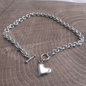 Chrome Teardrop Toggle Necklace w/Sideways Heart - CH300HRTSIDE