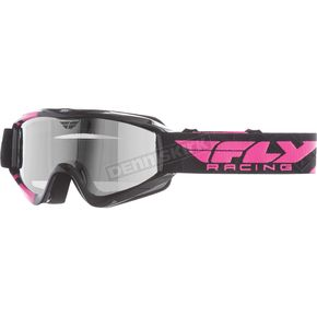 Fly Racing Black/Pink Zone Pro Snow Goggle with Chrome Smoke Dual Lens - 37-3031