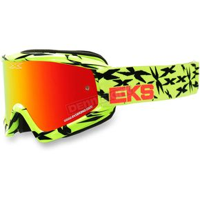 EKS Brand Black/Fluorescent Yellow GOX Scatter X Goggles w/Red Mirror Lens - 067-10615