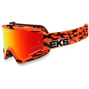 EKS Brand Black/Fluorescent Orange GOX Scatter X Goggles w/Red Mirror Lens - 067-10625