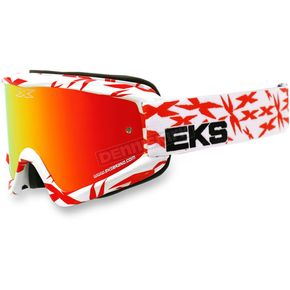 EKS Brand White/Red GOX Scatter X Goggles w/ Red Mirror Lens - 067-10635