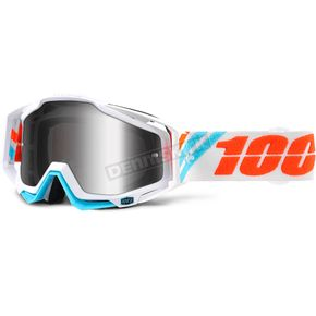 100% Racecraft Calculus Ice Goggles w/Silver Mirror Anti-Fog Lens+Extra Clear Lens - 50110-205-02