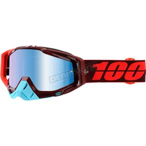 100% Racecraft Kikass Goggles w/Blue Mirror Anti-Fog Lens+Extra Clear Lens - 50110-208-02