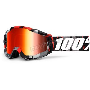 100% Accuri Magemo Goggles w/Red Mirror Anti-Fog Lens+Extra Clear Lens  - 50210-212-02