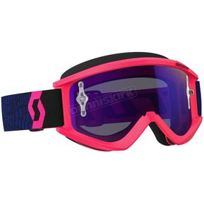 Scott Blue/Fluorescent Pink Recoil XI Goggles w/Purple Chrome Lens - 246485-5406281