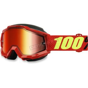 100% Accuri Saarinen Snow Goggles w/Dual Red Mirror Lens - 50213-203-02